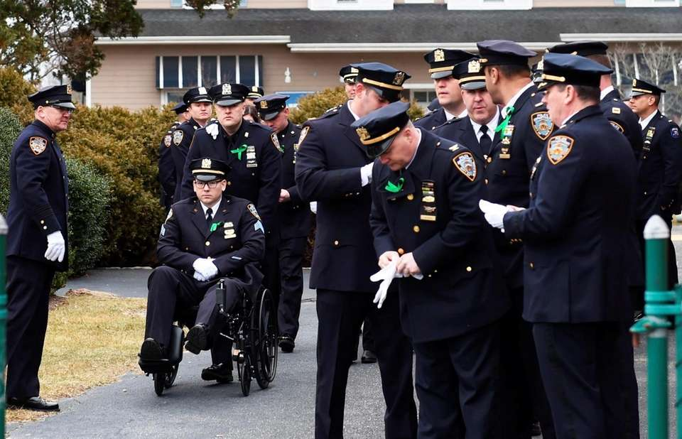 NYPD Sgt. Matthew Gorman attends the funeral for