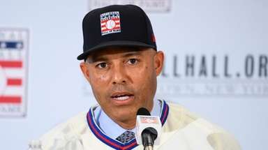 Mariano Rivera speak to the press after being