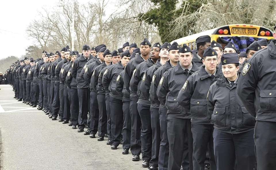 NYP Cadets line up on Montauk Highway to
