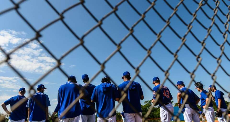 New York Mets pitchers during a spring training