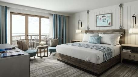 A rendering shows a guest room at Gurney's