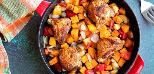 Spice-rubbed chicken thighs are seared and oven-roasted with