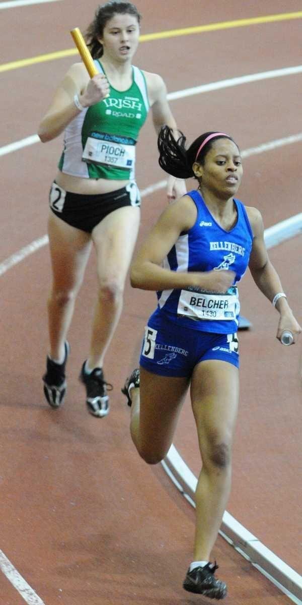 Kellenberg's Jasmin Belcher, bottom, competes in Heat 3