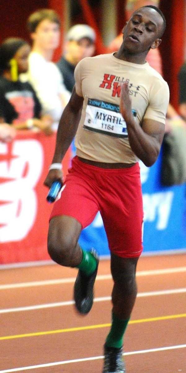 Abdias Myrtil of Half Hollow Hills West sprints