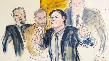 "In this courtroom drawing, Joaquín ""El Chapo"" Guzmán"