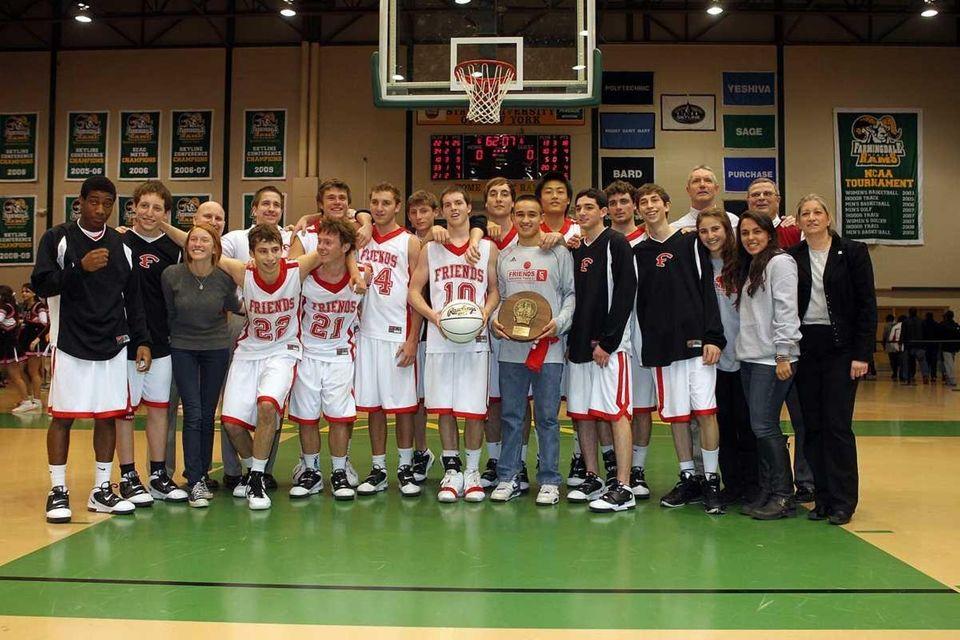 Friends Academy's boys basketball team poses for a