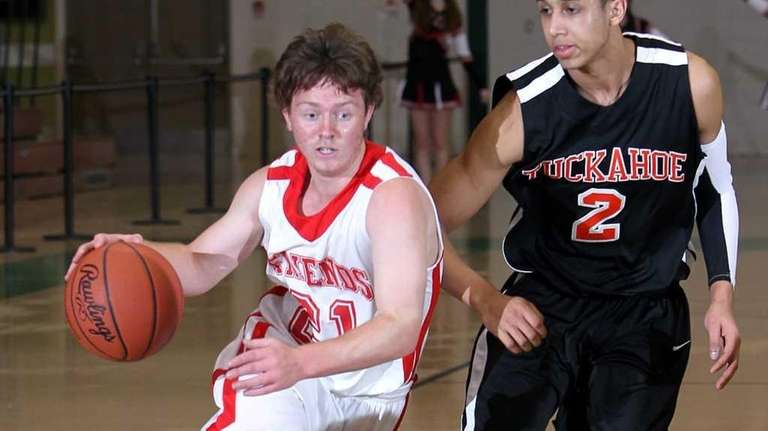 Friends Academy's Tommy Costa drives against Tuckahoe's Justin