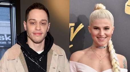 Pete Davidson, left, and Carly Aquilino performed stand-up