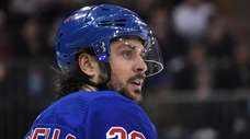 Rangers right wing Mats Zuccarello looks on against