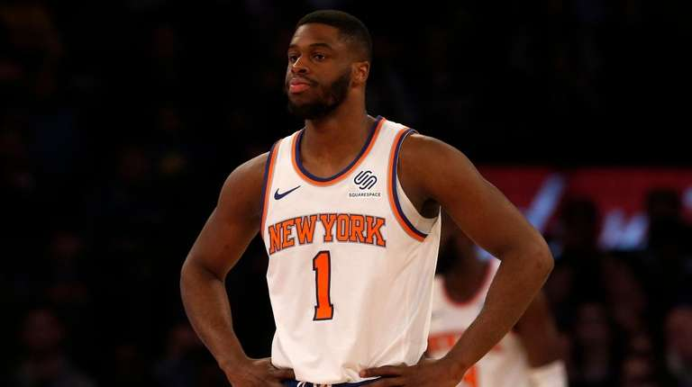 Emmanuel Mudiay of the Knicks looks on in