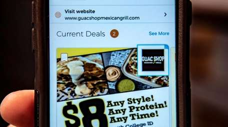 The app at Guac Shop Mexican Grill in