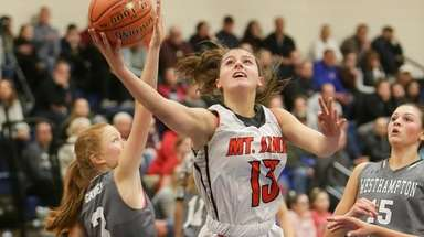 Mt Sinai's Brooke Cergol (13) puts one up