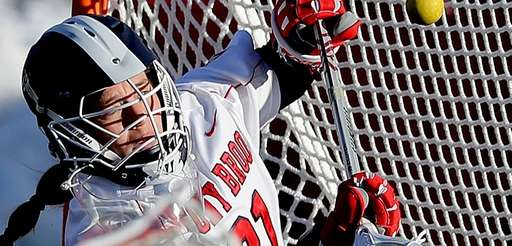 Stony Brook goalie Anna Tesoriero makes save during