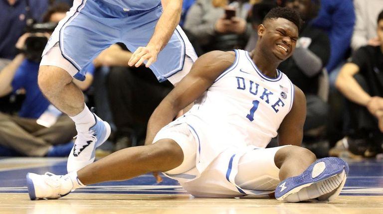 Zion Williamson of the Duke Blue Devils reacts
