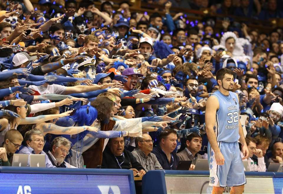 Fans watch as Luke Maye of the North