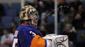 Islanders goalie Al Montoya looks on against the