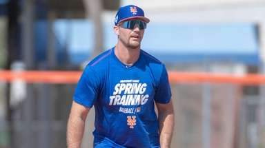 Mets first baseman Pete Alonso takes part in