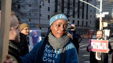 Patricia Okoumou outside Manhattan federal court before her