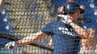 Yankees first baseman Greg Bird takes batting practice