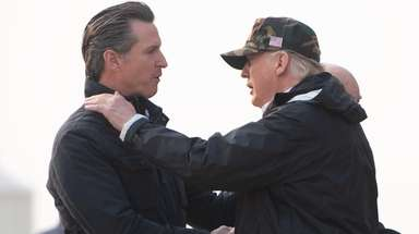 President Donald Trump greets California Gov.-elect Gavin Newsom