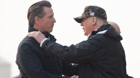 President Donald Trump greets California Gov.-elect Gavin Newsom