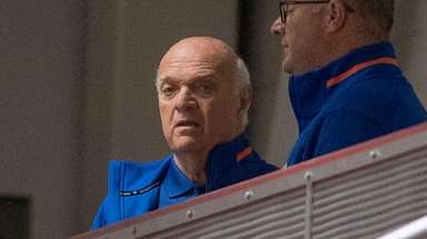 Islanders GM Lou Lamoriello watches his team on