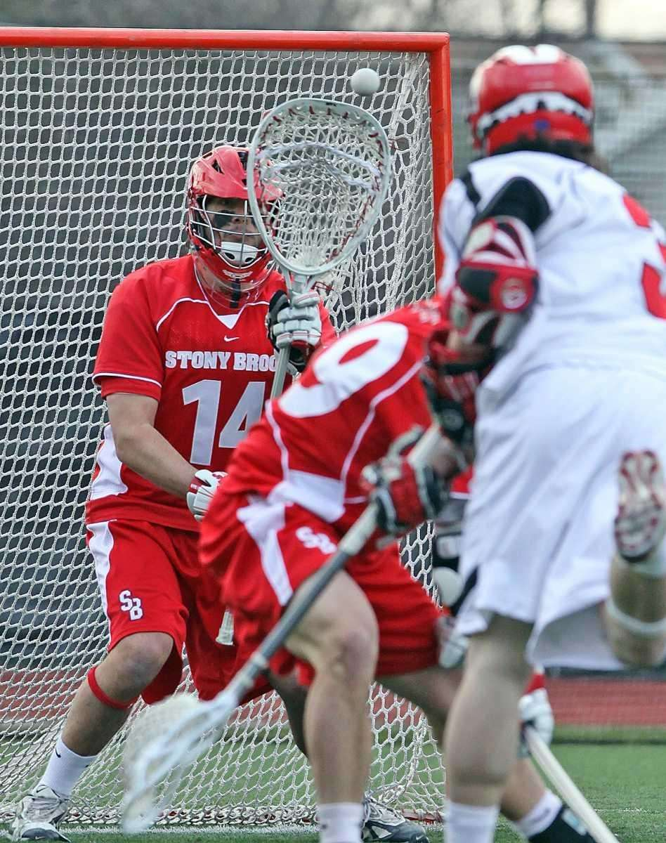 Stony Brook's goalie Rob Camposa makes the save