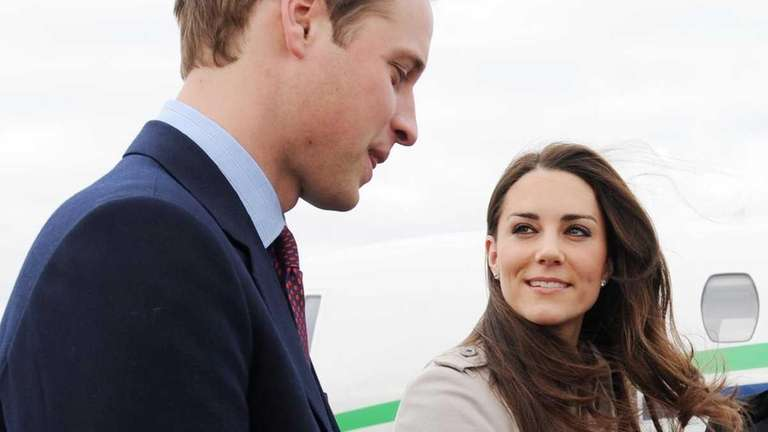 Britain's Prince William and his bride-to-be Kate Middleton