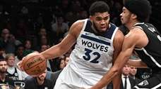 Minnesota Timberwolves center Karl-Anthony Towns against the Nets