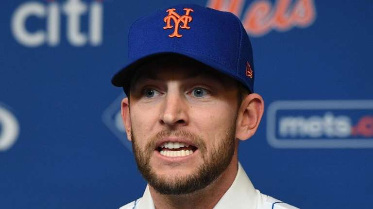 New York Mets' Jed Lowrie speaks during his