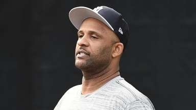 Yankees pitcher CC Sabathia on the field during