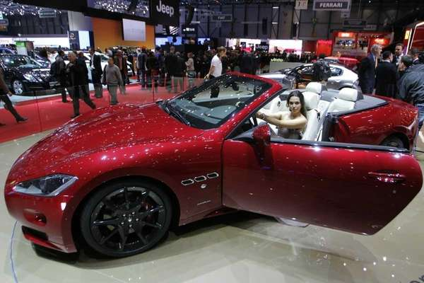 A model sits in the new Maserati GranCabrio