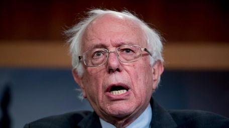 Sen. Bernie Sanders (I-Vt.), speaks at a news