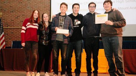 Members of Lynbrook High School's Horizon newspaper hold