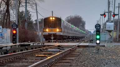 A Long Island Rail Road train makes its