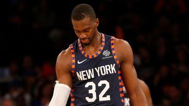 Noah Vonleh of the Knicks looks on during