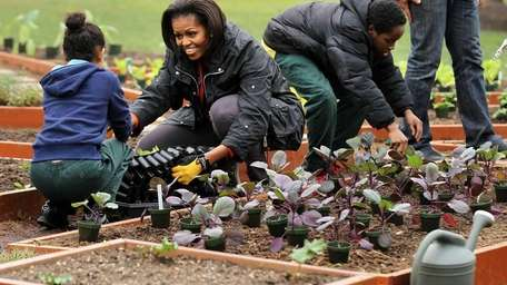 First lady Michelle Obama participates in planting with