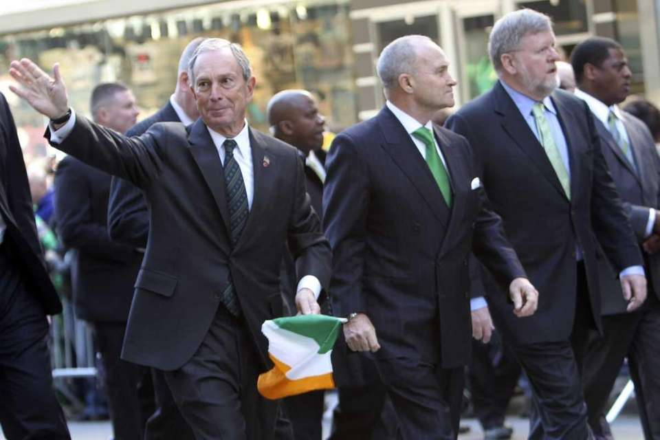 Mayor Michael Bloomberg marches up Fifth Avenue during