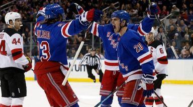 Chris Kreider of the Rangers celebrates his first