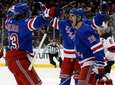 Chris Kreider of the Rangers celebrates his first