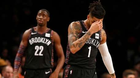 D'Angelo Russell and Caris LeVert of the Nets