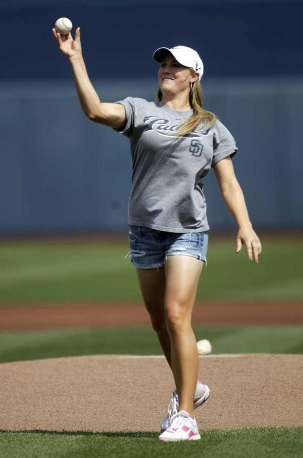 LPGA tour player Amanda Blumenherst, throwing out the