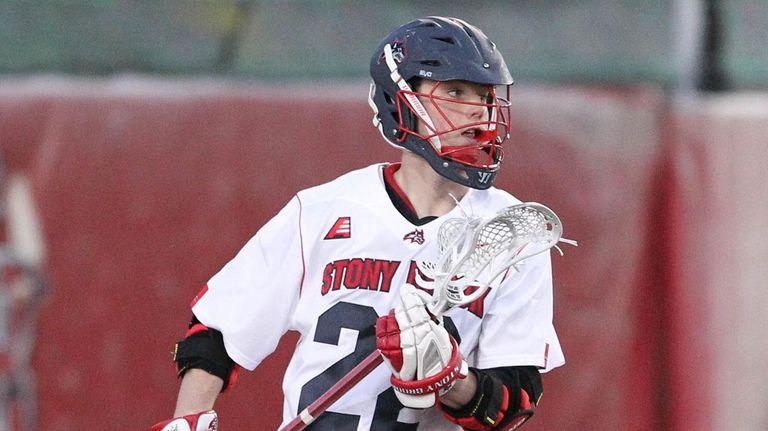 Stony Brook's Tom Haun looks to move the