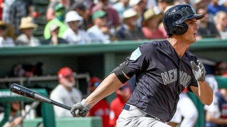 Yankees first baseman Greg Bird hits a single