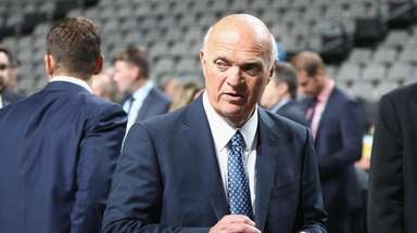 Lou Lamoriello of the Islanders prior to the