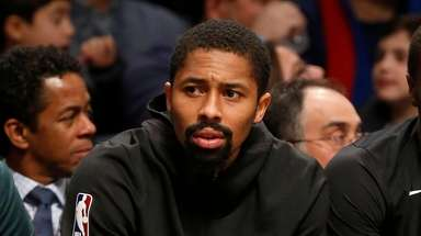 Spencer Dinwiddie of the Nets looks on from