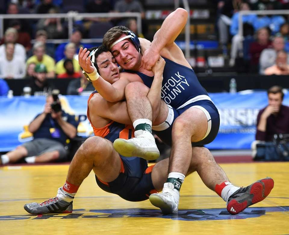 Joe Gannone, Eastport-South Manor was pinned by Aaron