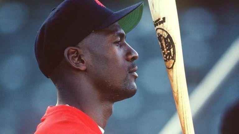 Michael Jordan prepares to bat for the Scottsdale