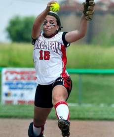 Floral Park's Samantha Giovanniello winds up during a