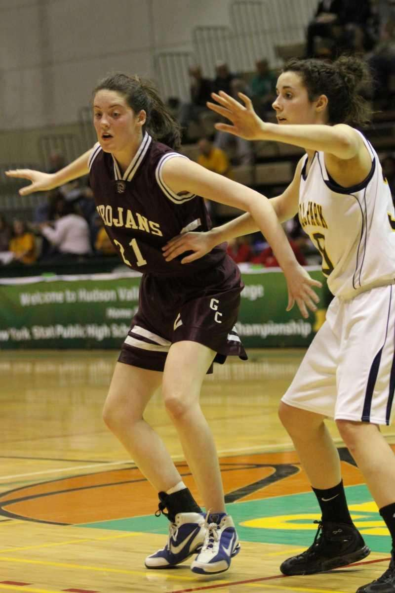 Garden City forward Katie Trimmer blocks opponent Averill